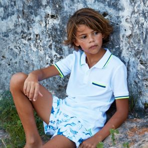 Boys White Pique Cotton Polo Shirt