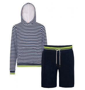 Boys Navy Stripe Hoodie and Shorts Towelling Set