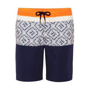 Youth Boys Blue Shibori Print Panel Swim Short