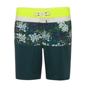 Youth Boys Green Java Print Panel Swim Short