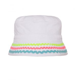 Girls White Canvas Bucket Hat