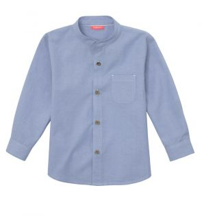Baby Boys Blue Cotton Long Sleeve Shirt