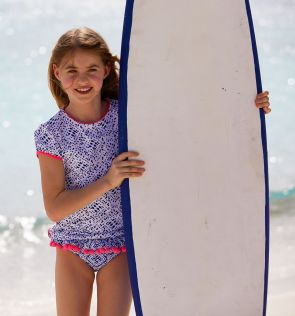 Girls Blue Shibori Short Sleeve Rash Vest