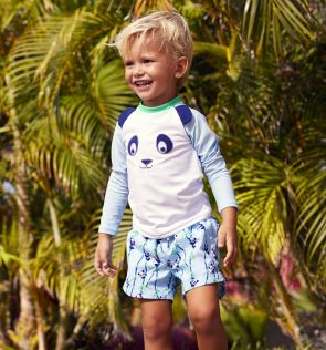 Baby Boys Blue Panda Swim Shorts