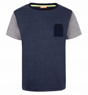 Boys Navy and Grey Cotton T-Shirt