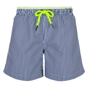 Mens Navy Sunuva Stripe Swim Shorts