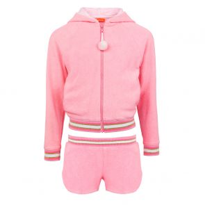 Girls Pink Long Sleeve Towelling Short Set