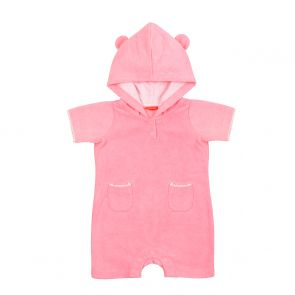 Baby Girls Pink Towelling Onesie