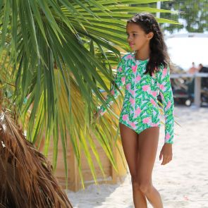 Teen Girls Green Banana Palm Long Sleeve Surf Suit