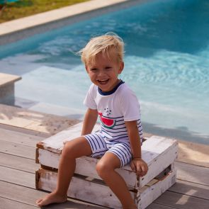 Baby Boys Navy Stripe Watermelon Whale Sun Suit