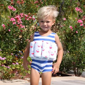 Boys Blue Stripe Watermelon Whale Float Suit
