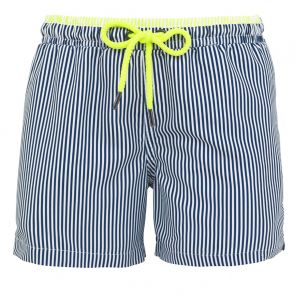 Boys Navy Sunuva Stripe Swim Shorts