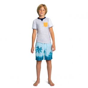 Teen Boys Grey Marl Short Sleeve Rash Vest