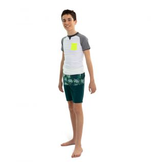 Teen Boys White and Grey Short Sleeve Rash Vest
