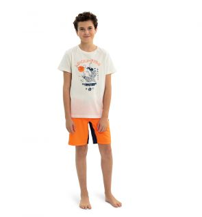 Teen Boys White Lucky Fish Cotton T-shirt