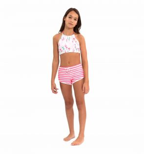 Girls Neon Pink and White Surf Shorts