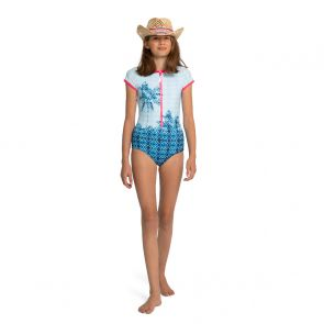 Teen Girls Blue Palm Tree Surf Suit