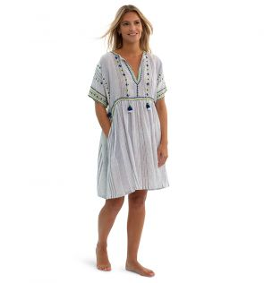 Womens Blue Cheesecloth Dress