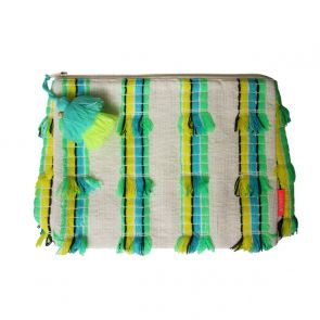 Limited Edition Blue Tassel Striped Washbag