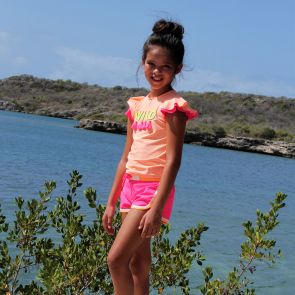 Girls Hot Pink Colourblock Surf Shorts